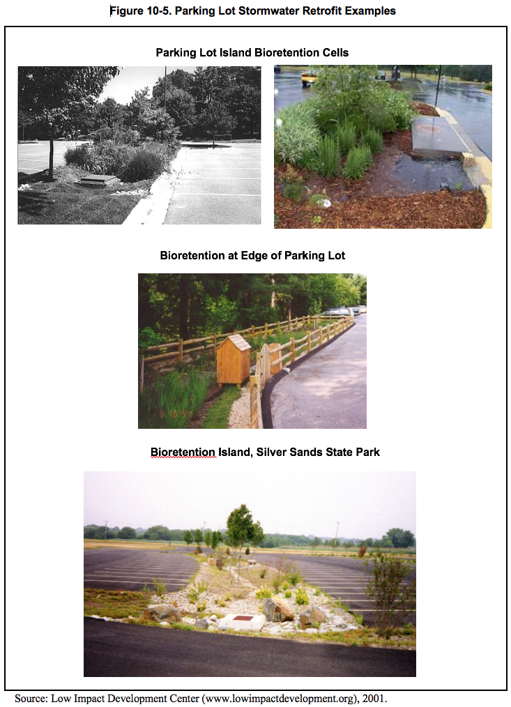 Figure 10.5 Images of parking lot stormwater retrofit examples