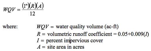 Water Quality Volume is equal to one inch multiplied by the volumetric runoff coefficient multiplied by the site area in acres. All over 12.
