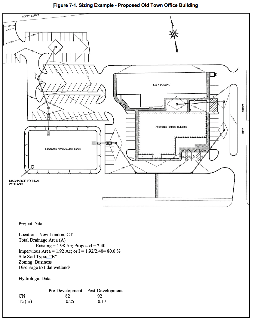 Proposed Old Town Office building and project data.