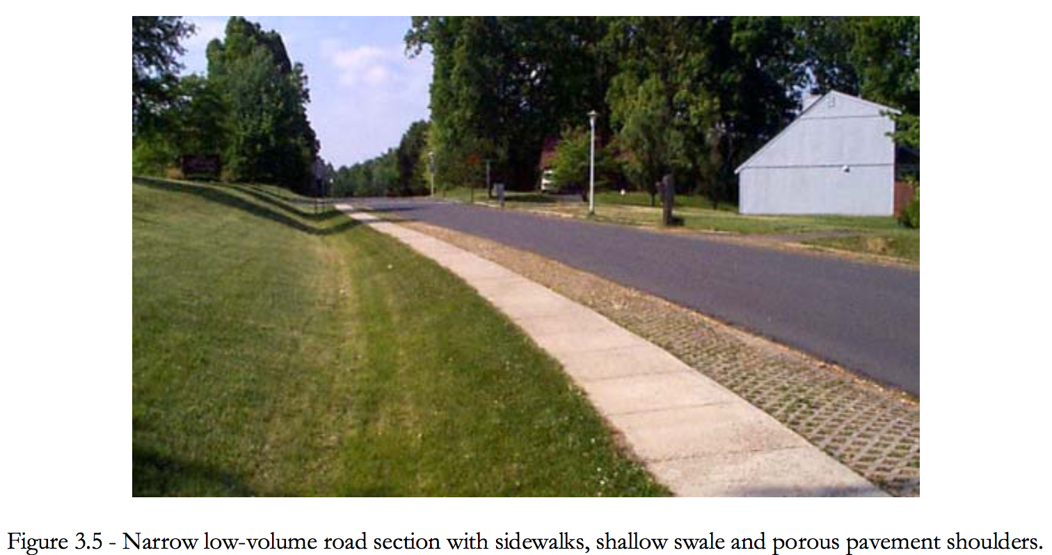Figure 3.5 Narrow low-volume road section with sidewalks, shallow swale and porous pavement shoulders