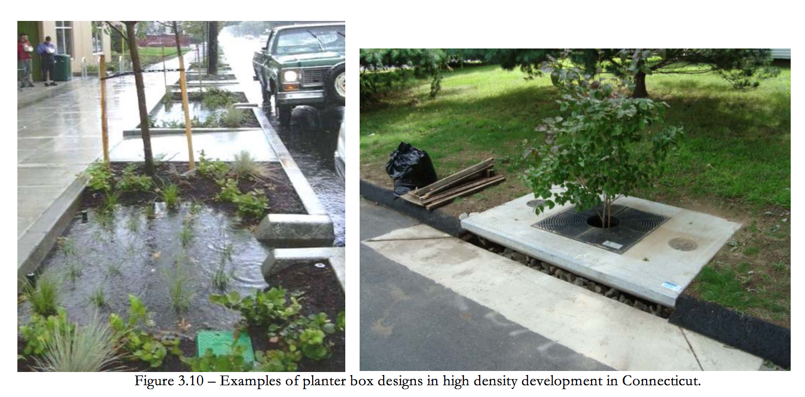 Figure 3-10 Examples of planter box designs in high density development in Connecticut