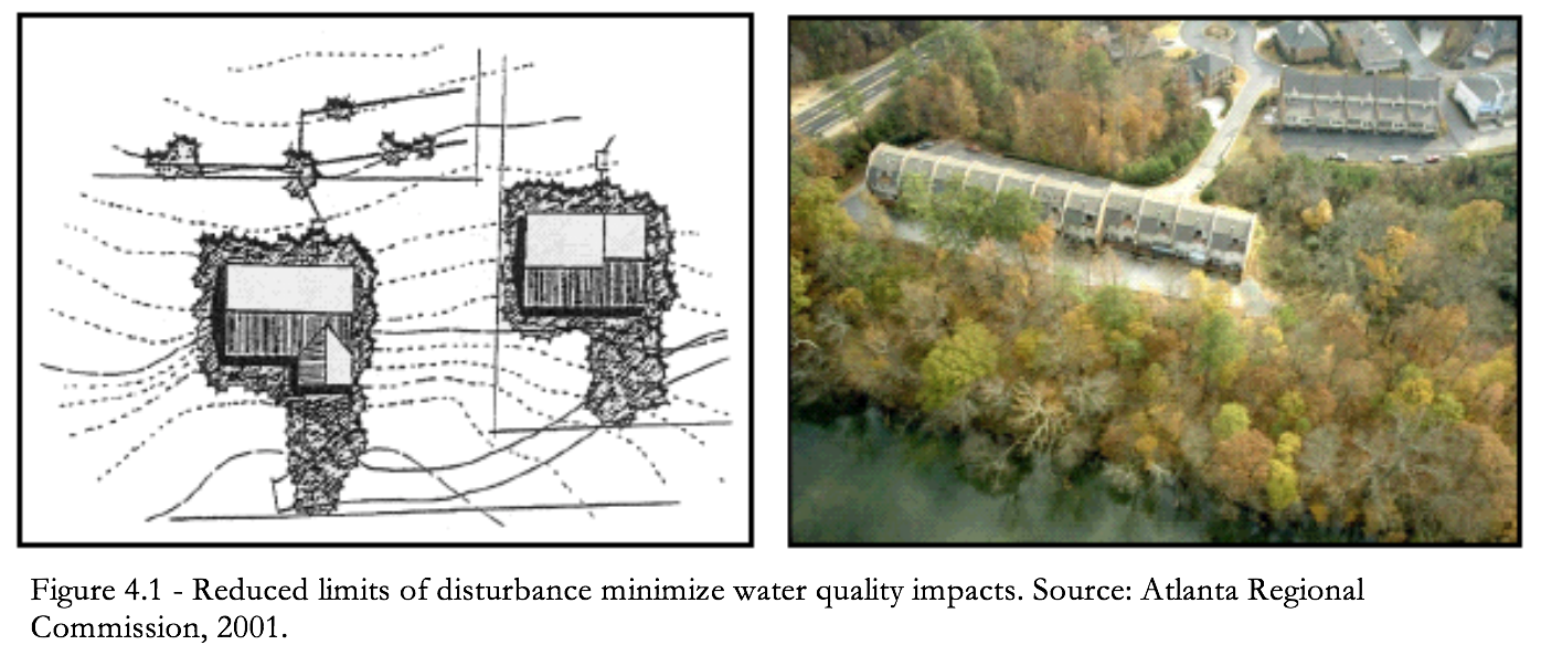 Figure 4.1 Reduced limits of disturbance minimize water quality impacts.