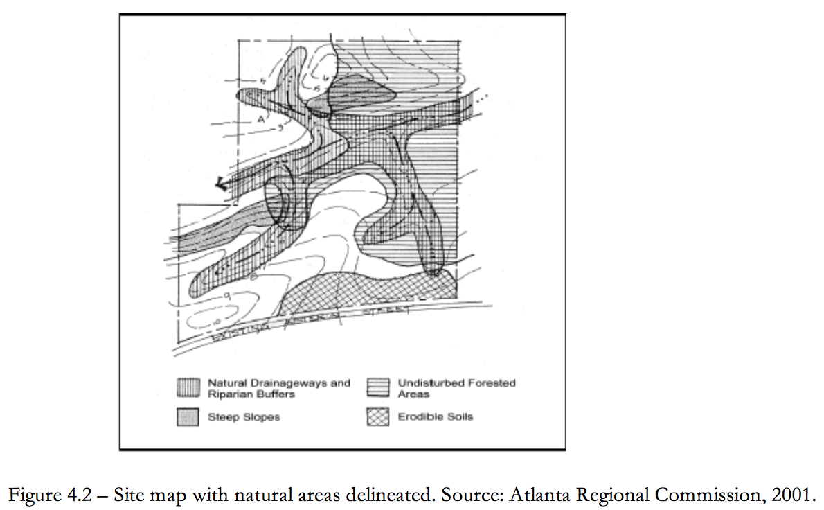 Figure 4.2 Site Map with Natural Areas delineated