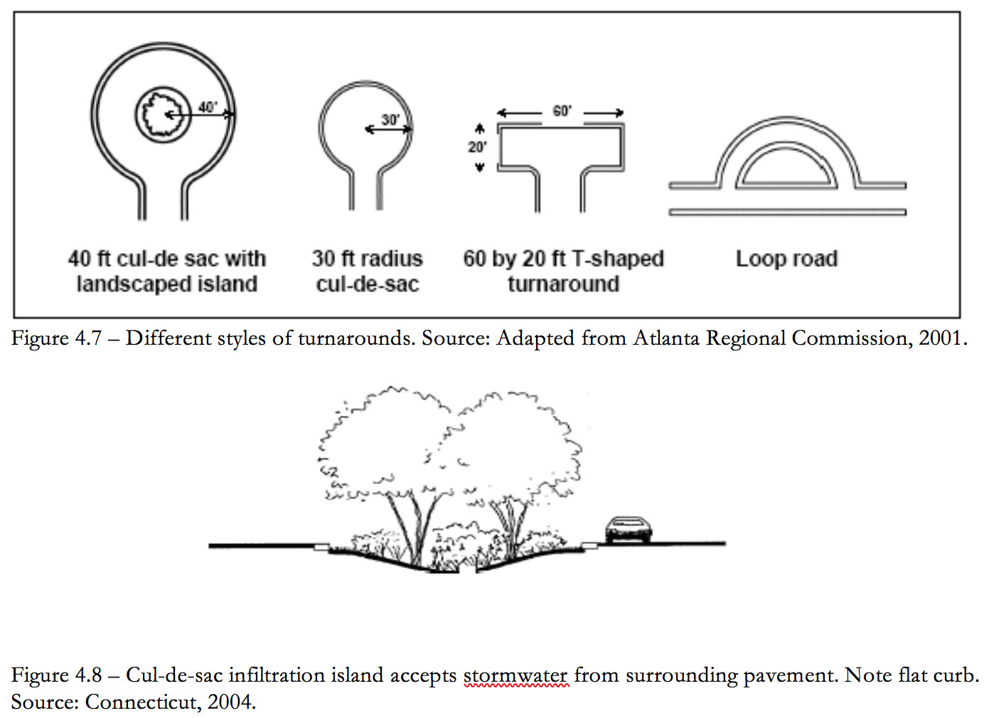 Figure 4.8 Cul-de-sac infiltration island accepts stormwater from surrounding pavement.
