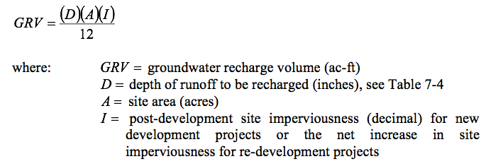 Groundwater recharge volume (ac-ft), is equal to the depth of runoff to be recharged (inches) multiplied by site area (acres) multiplied by site imperiousness. All over 12.