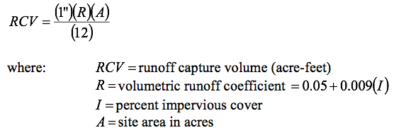Runoff capture volume (acre-feet) is equal to 1 inch multiplied by the volumetric runoff coefficient, multiplied by the site area (acres), all over 12